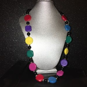 80's retro vintage funky beaded colorful necklace